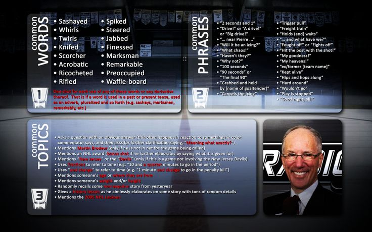 """i'll miss playing the Doc Emrick drinking game: """"Take 1 shot every time """"Doc"""" says one of the words (or its derivative) from the Common Words box during the broadcast; Take 2 shots every time """"Doc"""" says one of the phrases from the Common Phrases box during the broadcast; and/or Take 3 shots every time """"Doc"""" mentions one of the topics from the Common Topics box during the broadcast"""" #SCORE #stanleycup #nhl #hockey #stanley #emrick"""