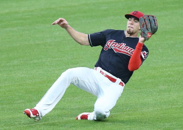Cleveland Indians center fielder Bradley Zimmer slides to the field after catching a line drive off the bat of Toronto Blue Jays shortstop Ryan Goins in the sixth inning, July 22, 2017, at Progressive Field. (John Kuntz, cleveland.com). Indians won in the 10th 2-1