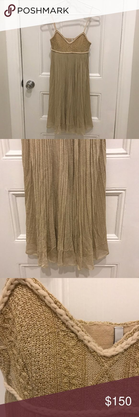 Iisli Metallic Wool Baby Doll Dress Size XS Iisli Metallic Wool Baby Doll Dress Size XS. Braided detailing and straps. Great dress for a special occasion or a summer date night. Beautiful metallic color compliments any skin tone. Iisli Dresses Mini
