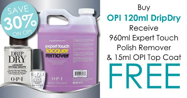 #salonfirst Buy OPI 120ml DripDry & receive 960ml Expert Touch Polish Remover & 15ml OPI Top Coat FREE! Click here for special >> http://bit.ly/1EPWz6z