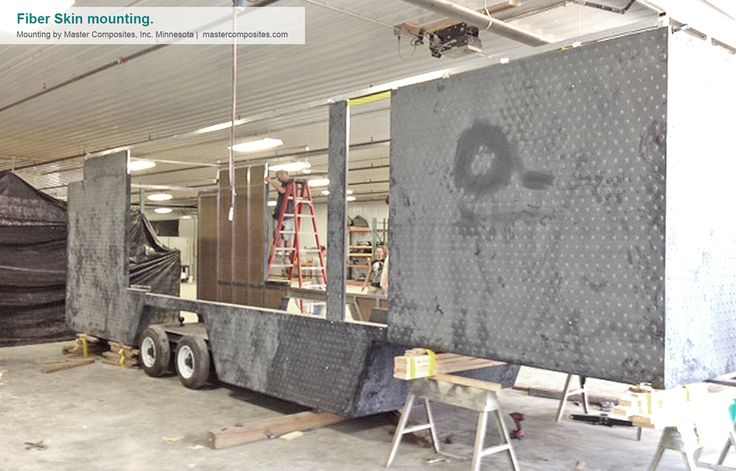 Designed from scratch, this trailer breaks the rules of traditional trailers existing on the market. This image represents the trailer during the skin mounting process. Credits for the production to http://mastercomposites.com/