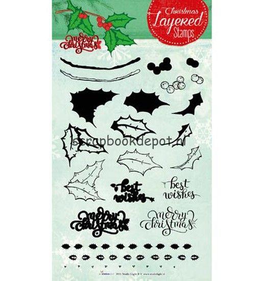 Scrapbookdepot - Studio Light Clear Stempel Layered Christmas Stamps nr.10 - STAMPLS10 - StudioLight - Kerst afbeeldingen