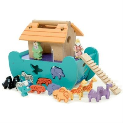Le Toy Van Petite Ark.  A beautifully crafted little shape sorter wooden toy ark from Le Toy Van. Brightly painted with 8 pairs of wooden wild animals and a little ramp for them to march in two by two. Noah and his Wife have not been forgotten and stand on the upper deck to supervise boarding. The ark has a very useful carry handle in the top for safe transport around the house.