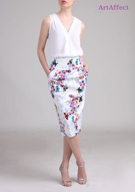 High Waist Pencil Skirt with Pocket Butterfly with by artaffect
