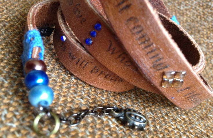 Memshe with a message. Leather bracelet. Lyrics.