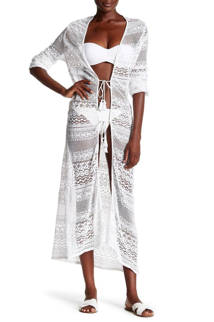 White crochet long tunic with tie strings.   Maxi Open Cover Up  by Kareena's. Clothing - Swimwear - Cover Ups California