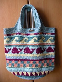 Keine Anleitung - inspirierend, mit diversen Farbmustern (Crochetalong Häkeltasche Sand und Meer von Edith schoenstricken.de)