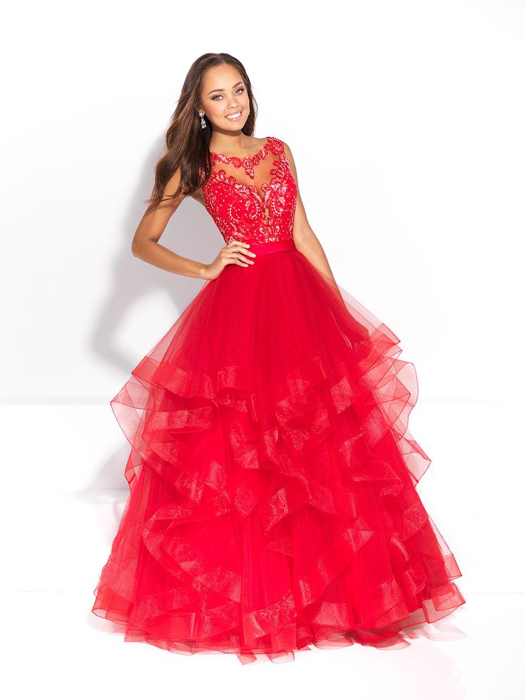 Fun red Prom dress. Layered ball gown  with lace top. find it at Moscatel Boutique