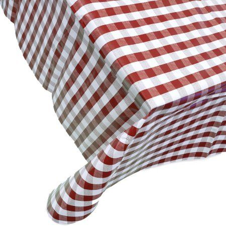 Berrnour Home Vinyl Tablecloth Red Checkered Design Indoor/Outdoor  Tablecloth With Non Woven Backing