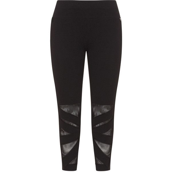 Mat Black Plus Size Mesh detail leggings ($68) ❤ liked on Polyvore featuring activewear, activewear pants, black, plus size, plus size sportswear, plus size activewear pants, plus size activewear and women's plus size activewear