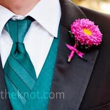 Pink & Teal Wedding - See more at partymotif.com: Pink Teal, Pink Flowers, Daisy Boutonniere, Colors, Teal Weddings, Groom, Guys, Boutonnieres