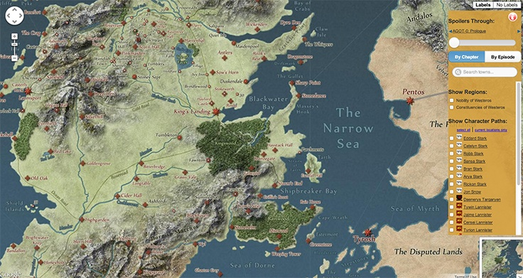 Visit http://quartermaester.info/ to use this interactive map of Westeros, to track characters in Game of Thrones