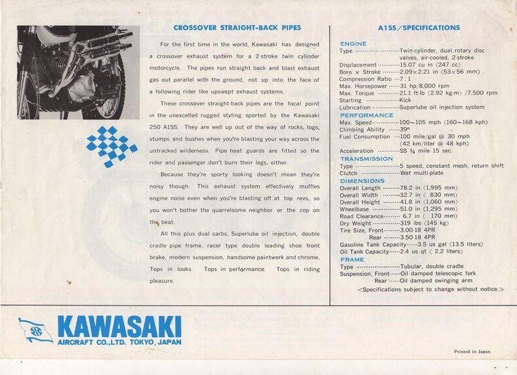 Kawasaki 250 model A1SS Samurai - 2 page Motorcycle Brochure NCS | eBay