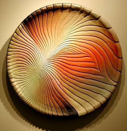 Yasuko Nakamura |  PLATE 324  Hand Carved Ceramic Wall Plate