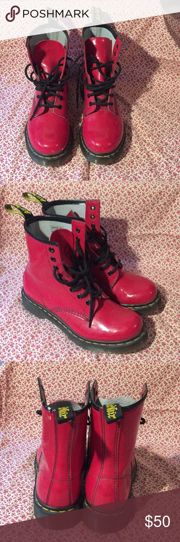 Shiny red Dr Marten boots Only worn twice, slight scuffs from sitting in my closet. Dr. Martens Shoes Lace Up Boots