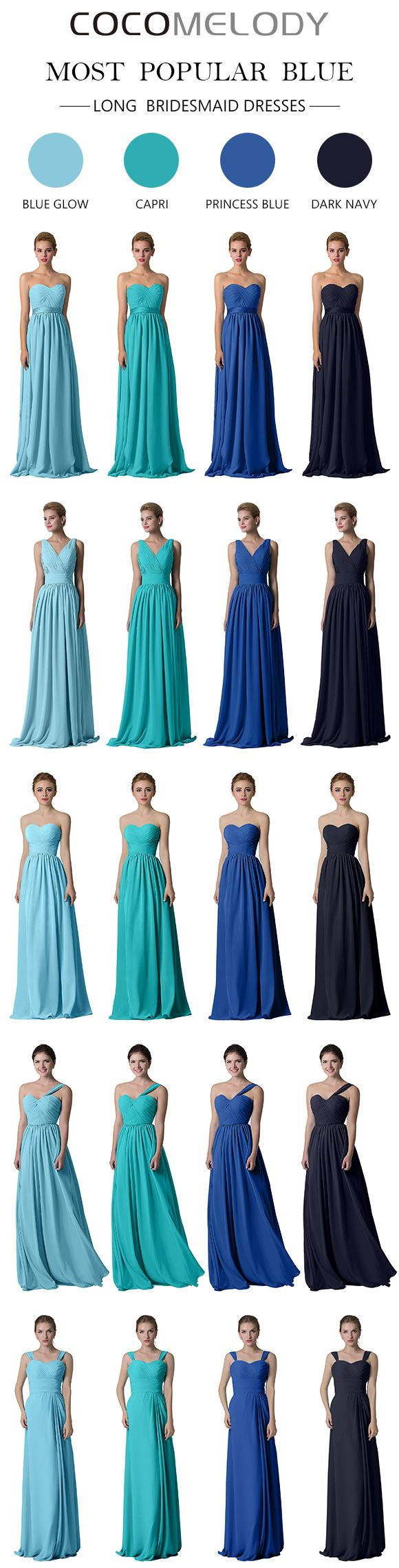 Most Popular Blue Chiffon Bridesmaid Dresses. #bridesmaiddresses #cocomelody #wedding #chiffondresses #longdresses #bridesmaids
