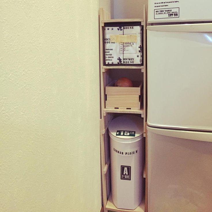 冷蔵庫の隙間に棚がほしくて100均でつくってみた棚! 米収納と野菜ストック的な(笑) 冷蔵庫の高さまで足す予定!初DIY #セリア#すのこ#棚#隙間収納#初diy