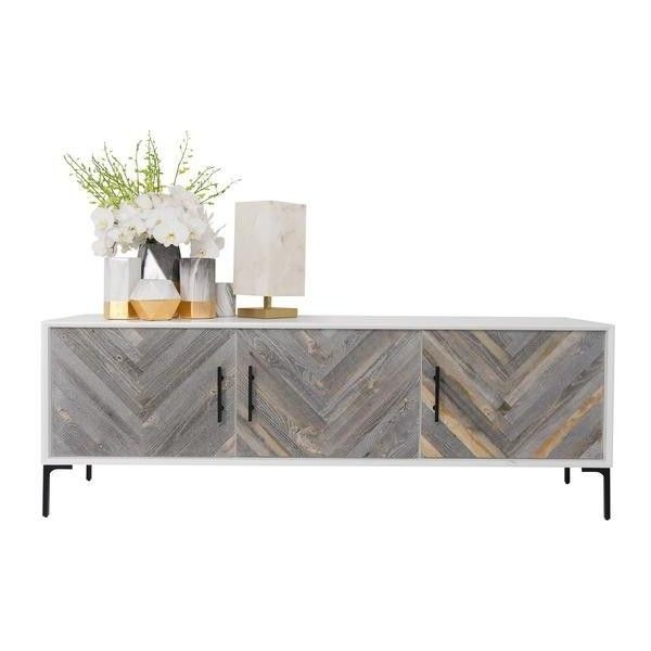 Amalfi 3 Door Credenza ❤ liked on Polyvore featuring home, furniture, storage & shelves, sideboards, reclaimed wood tv console, modern tv console, mod furniture, modern reclaimed wood furniture and recycled wood furniture