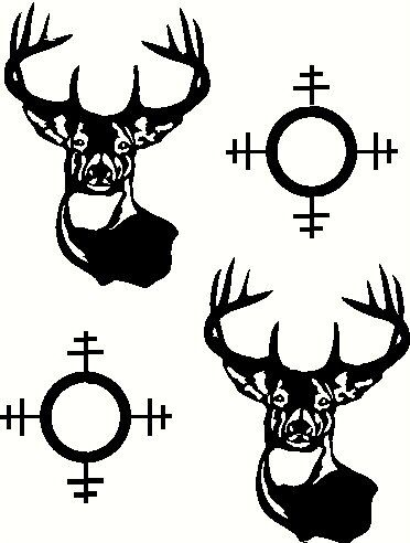 Corn hole deer and gun sight graphics for corn by AnteUpGraphics