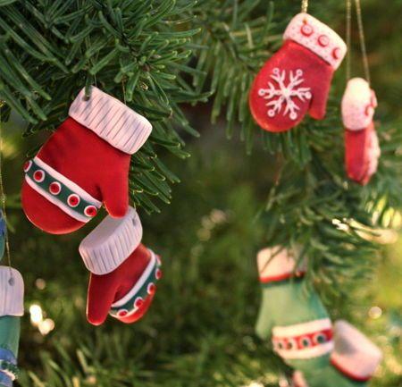 Adorable—Mitten Christmas Ornaments—Made from Sculpey Clay
