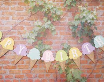 Glace crème anniversaire bannière nom bannière par CraftsByBiessel