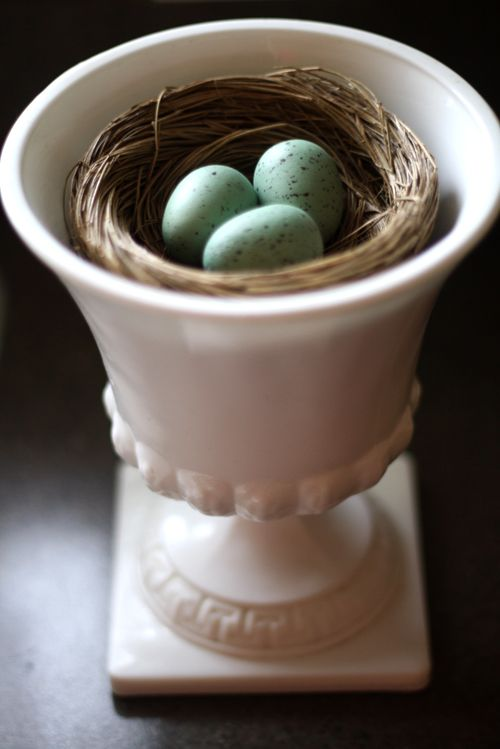 I love to decorate with nests. I call it nesting and de-stressing.: Milk Glass