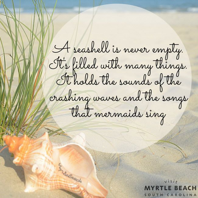 A seashell is never empty. It's filled with many things. It holds the sounds of the crashing waves and the songs that mermaids sing.  | Myrtle Beach | South Carolina