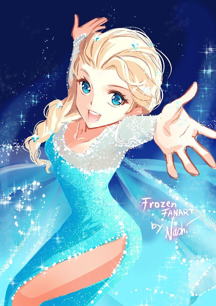 Disney Frozen by Naschi anime style