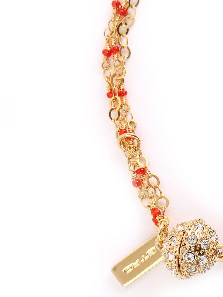 Купить Etro золотое ожерелье из стекла и металла на магнитной застёжке (195831), цена на ожерелие в интернет-магазине Bosco.ru – 13 150 руб.