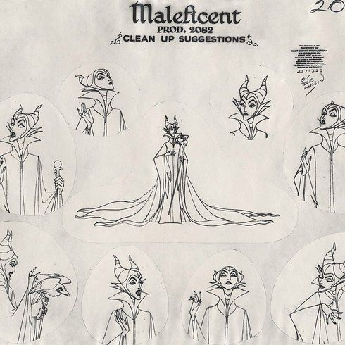 """Model sheets of Maleficent and Princess Aurora. 
