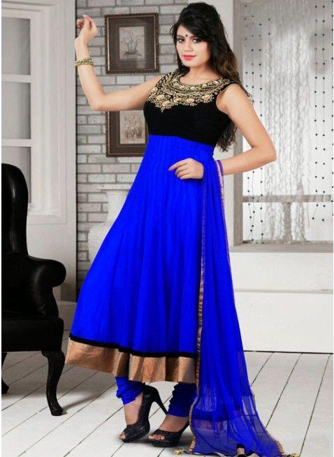 Ethnic Black & Blue Net Embellished #Salwar #Kameez #clothing #fashion #womenwear #womenapparel #ethnicwear