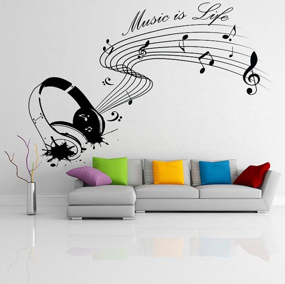 Vinyl Wall Decal Quote Music is life with Headphones / Inspiration Text for Artist, Musicians and Singers Art Decor Sticker / Home DIY Mural