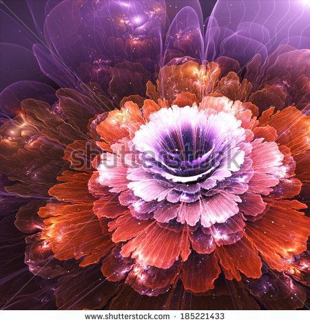 abstract flower, violet and orange, computer generated graphic by Anikakodydkova, via Shutterstock