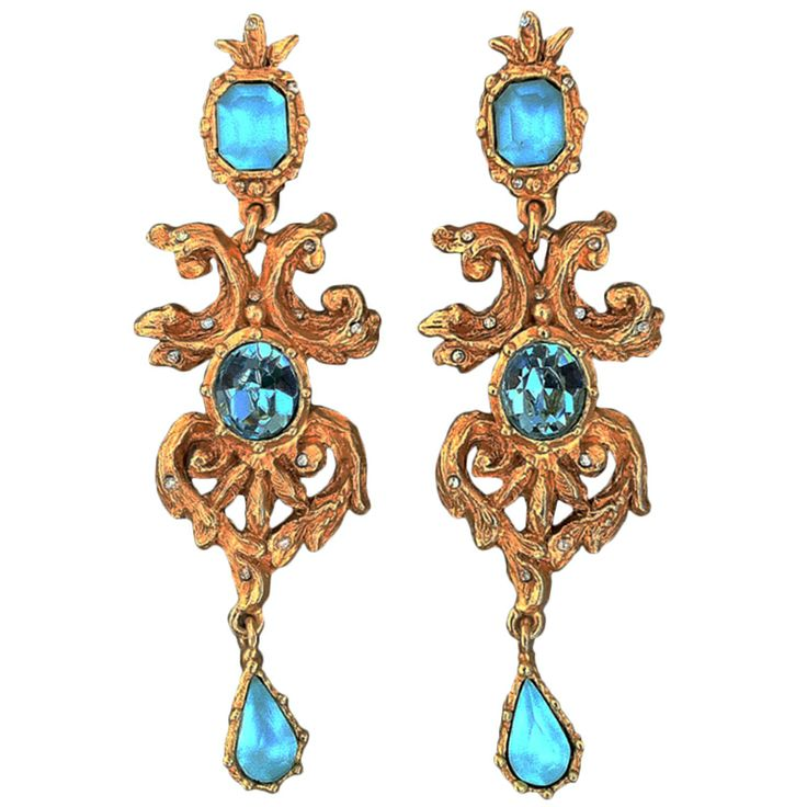 E550 Fine vintage 1990s Christian Lacroix/Swarovski crystal 'Baroque' ear drops. Signed gilt metal items with crystal details. Original clip backs intact.| From a unique collection of vintage clip-on earrings (ITS)
