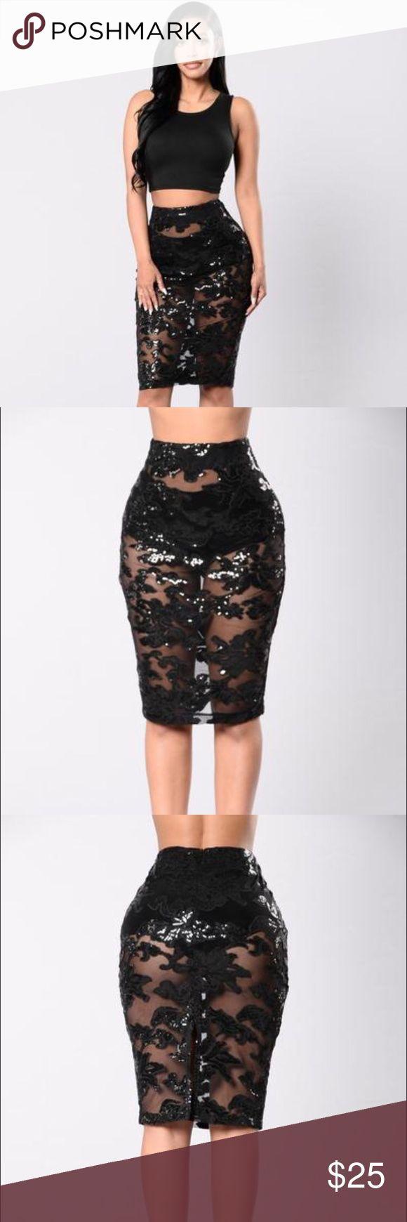 Glam Night Out Skirt- Black SOLD OUT EVERWHERE Sheer Black Sequin Skirt, Midi length, Slit in back Fashion Nova Skirts Midi