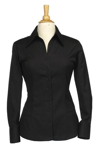casual uniform shirts for women | Women's Tone-on-Tone Black Casual Server Shirt