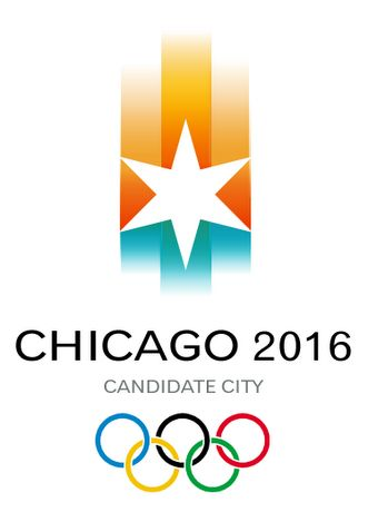 """The original logo for Chicago's bid for the 2016 Olympics was unveiled in October 2006. It was designed pro-bono by VSA Partners. The """"handle"""" is green and blue to represent Lake Michigan and the city's park, while the fire is a stylistic representation of the Chicago skyline. Olympic rules forbid bid logos from including Olympic imagery, such as torches. In September 2007, a new logo was unveiled which replaced the torch logo."""
