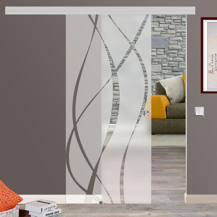 Soft Stop Glasschiebetür Glas Schiebetür 775/900/1025x2050mm o.2175mm M6
