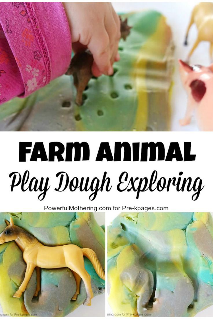Farm Animal Play Dough Exploration. Put in soap travel boxes with animal, seashells, etc different themes