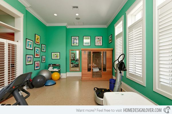15 Cool Home Gym Ideas~I think I like the pictures, and the wall paper, or decals, but put famous iconic people in the piture frames