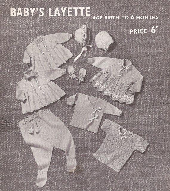 PDF Vintage Knitting Pattern Babys Layette Set Vest by georgie8109, $2.25