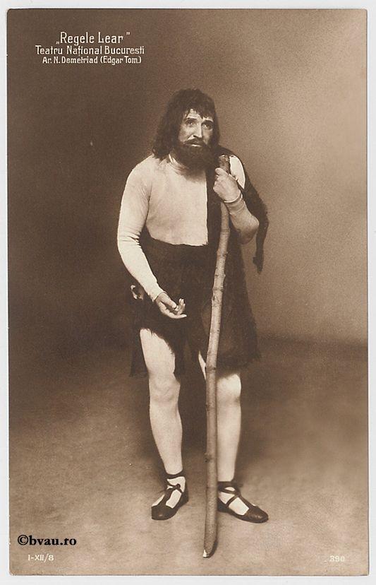 """N. Demetriad în """"Regele Lear"""", Bucureşti. Imagine din colecțiile Bibliotecii """"V.A. Urechia"""" Galați."""
