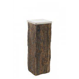"BEAM Side Table Wood w/Raw Nickel,14x14x40""H - Light & Living"