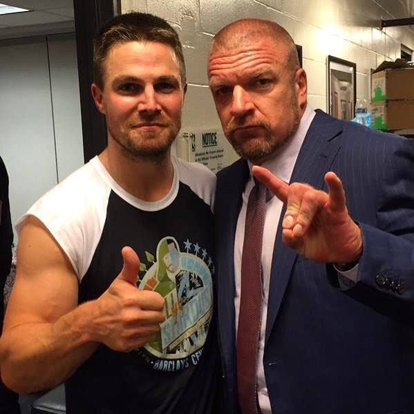 """""""Just... one of the greatest nights of my life."""" - Stephen Amell with Triple H - Stephen's FB"""