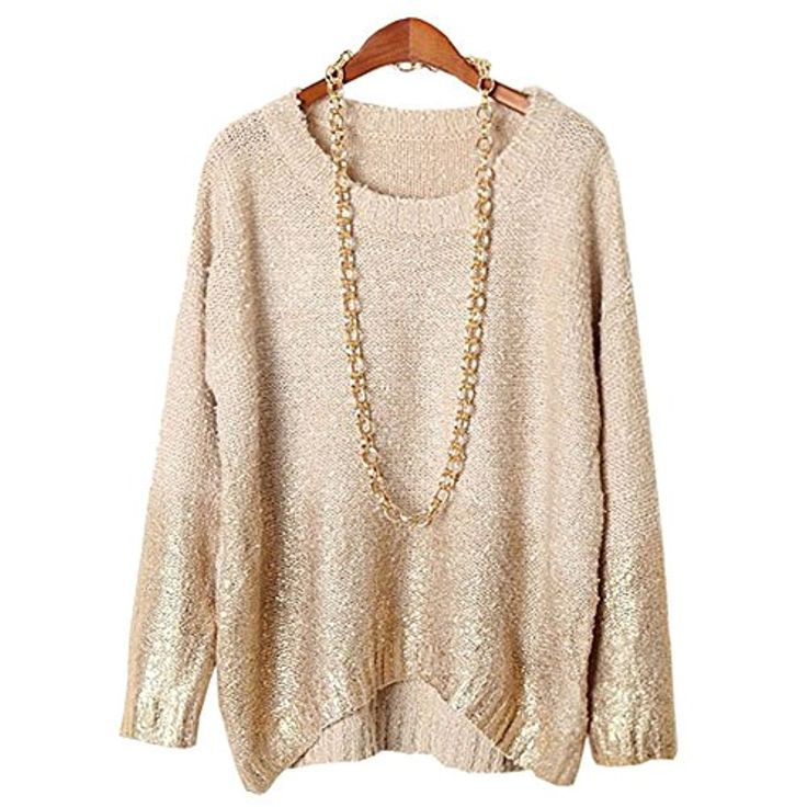YOLL Women's Casual Gold Knit Sweater Batwing Sleeve Pullover Sweaters ** Be sure to check out this awesome product. (This is an affiliate link) #Sweaters