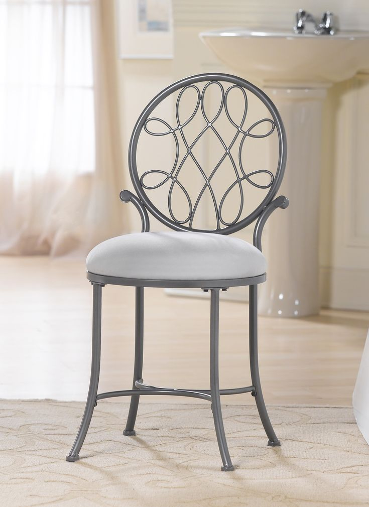 Bathroom Furniture Gray Polished Wrought Iron Vanity Chair With Rounded White Tone Padded Seat and Ornate Back Rest Vanity Chair for Bathroom