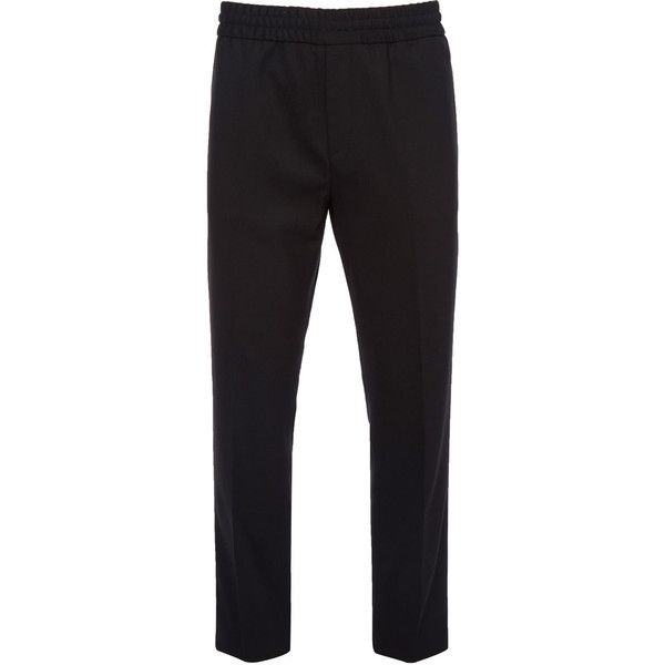 Acne Studios Ryder Elasticated Waist Trousers ($275) ❤ liked on Polyvore featuring men's fashion, men's clothing, men's pants, men's casual pants, mens formal pants, mens stretch waist pants, mens elastic waist pants, mens elastic waistband pants and mens zip off pants