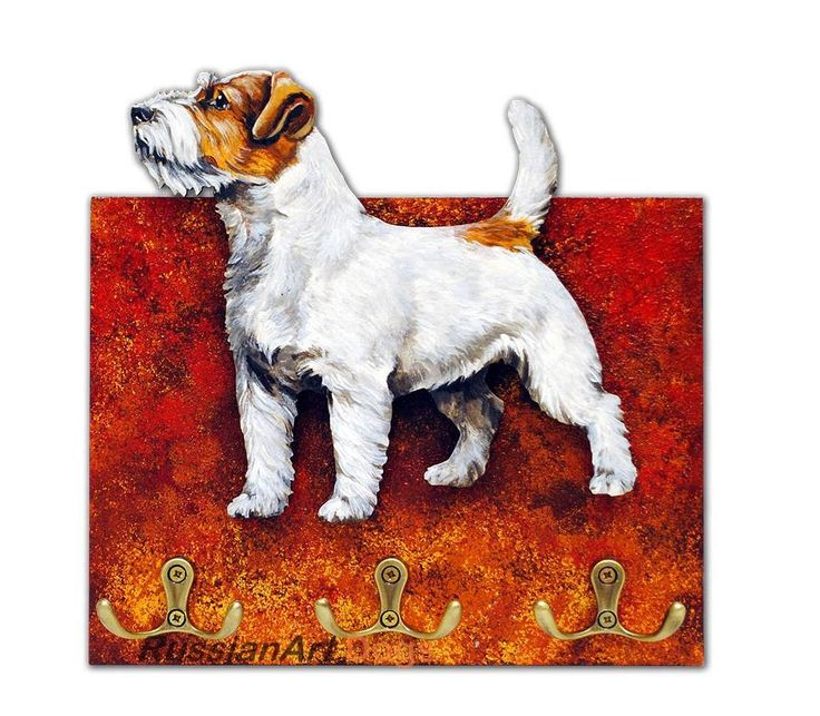 Jack Russell Terrier, Wire-haired dog Hanger / holder leashes, ANY COLOR figurine, rack key of wood, handmade, acrylic paint by RussianArtDogs on Etsy