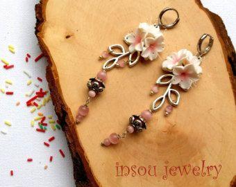 Flower Earrings Vanilla Earrings Dangle Earrings Romantic