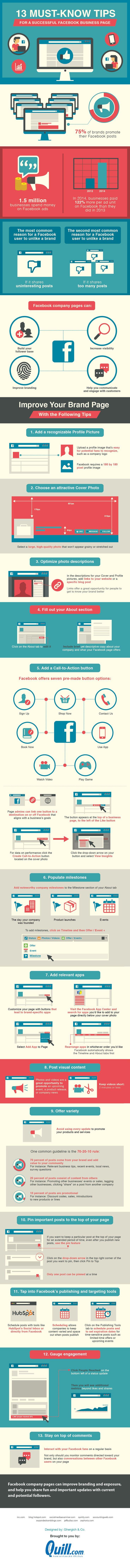 Wil jij scoren met je Facebookpagina? Gebruik dan deze 13 'must-know' tips! #infographic #InfographicDay #Frankwatching #Facebookpagina